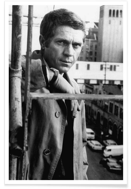 Noir & blanc, Vintage, Steve McQueen in Bullitt, 1968 affiche