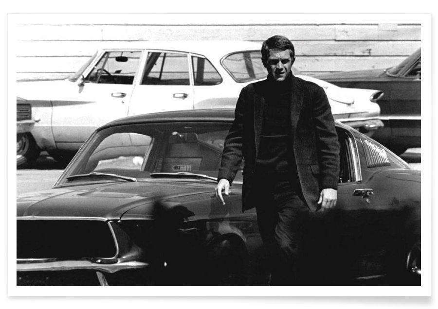 Noir & blanc, Vintage, Steve McQueen dans Bullitt, 1969 - Photographie affiche