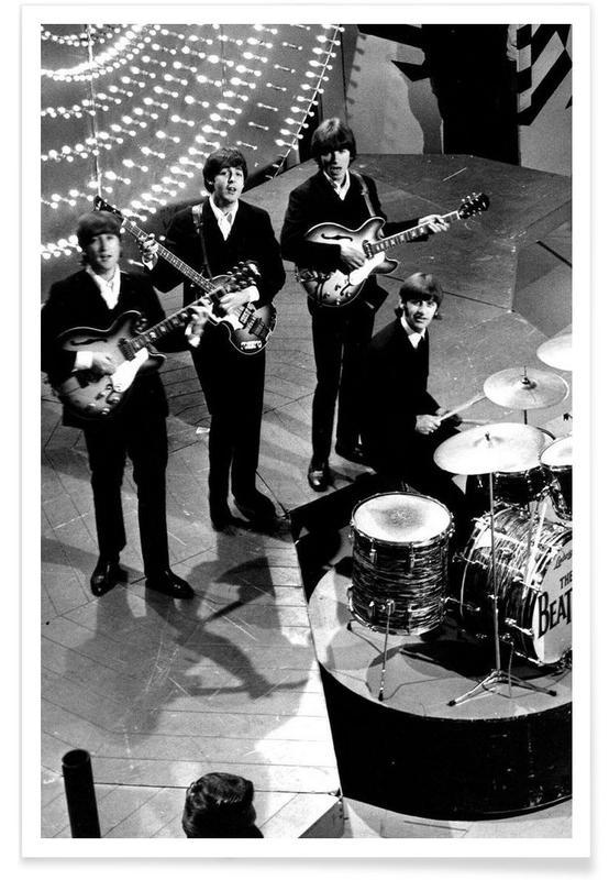The Beatles, Noir & blanc, Vintage, Les Beatles, 1966 - Photographie vintage affiche