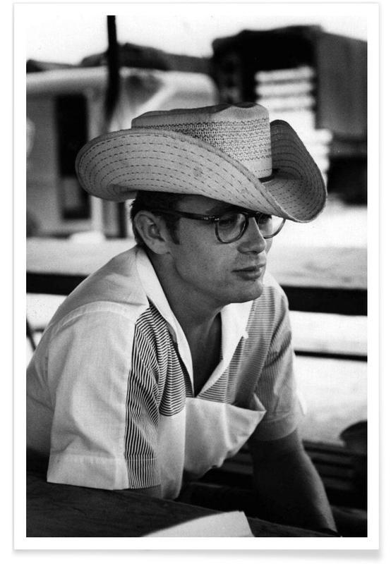 James Dean, Noir & blanc, Vintage, James Dean avec chapeau de cow-boy - Photographie affiche
