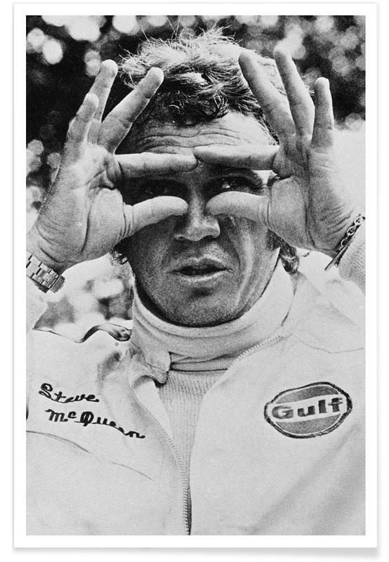 Noir & blanc, Vintage, Steve McQueen in Le Mans, 1971 affiche