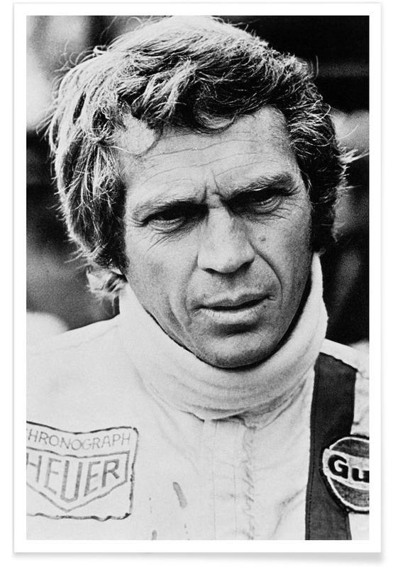 Vintage, Zwart en wit, Steve McQueen in Le Mans 2, 1971 poster