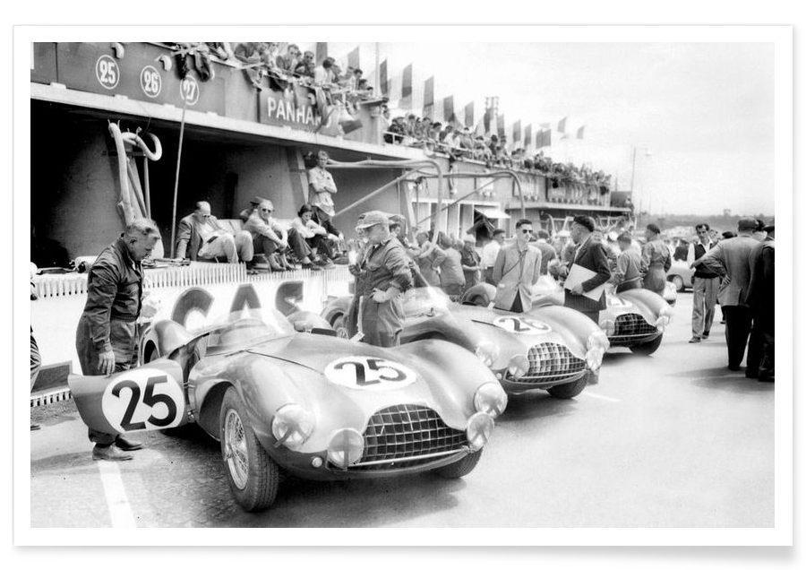 Schwarz & Weiß, Vintage, Autos, Aston Martin in Le Mans-Fotografie -Poster