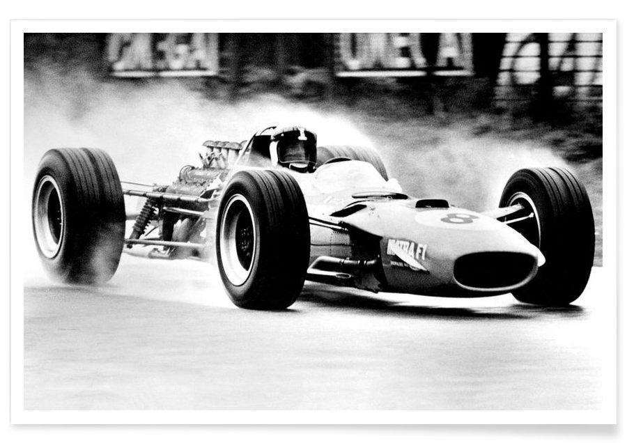 Voitures, Noir & blanc, Vintage, Formule 1 - Photographie vintage affiche