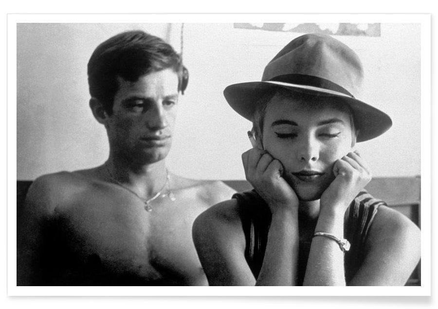 Vintage, Zwart en wit, Auto's, Jean-Paul Belmondo and Jean Seberg in Breathless, 1960 poster