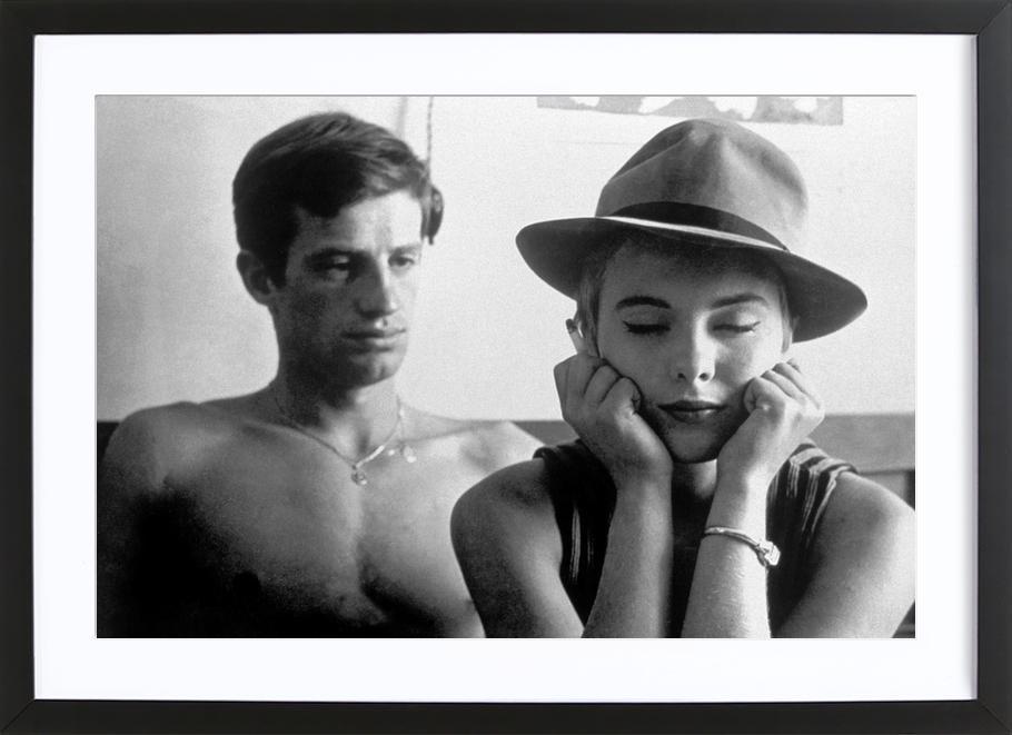 Jean-Paul Belmondo and Jean Seberg in Breathless, 1960 -Bild mit Holzrahmen