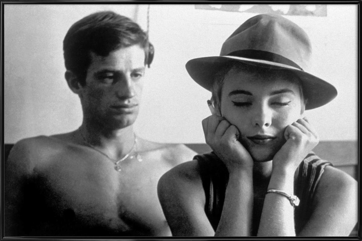 Jean-Paul Belmondo and Jean Seberg in Breathless, 1960 -Bild mit Kunststoffrahmen