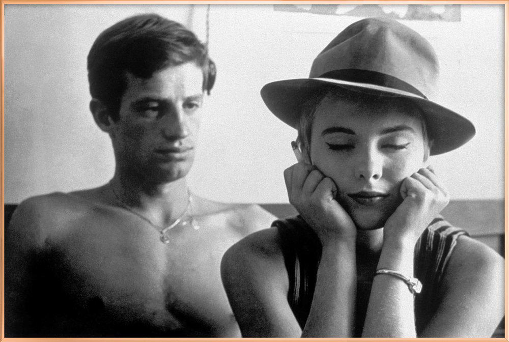 Jean-Paul Belmondo and Jean Seberg in Breathless, 1960 -Poster im Alurahmen