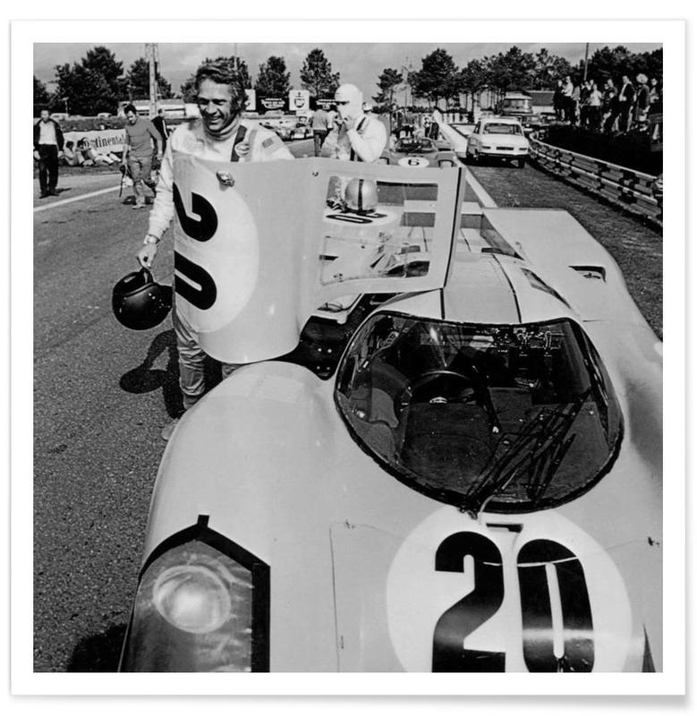 Vintage, Zwart en wit, Foto van Steve McQueen met Porsche 917 poster