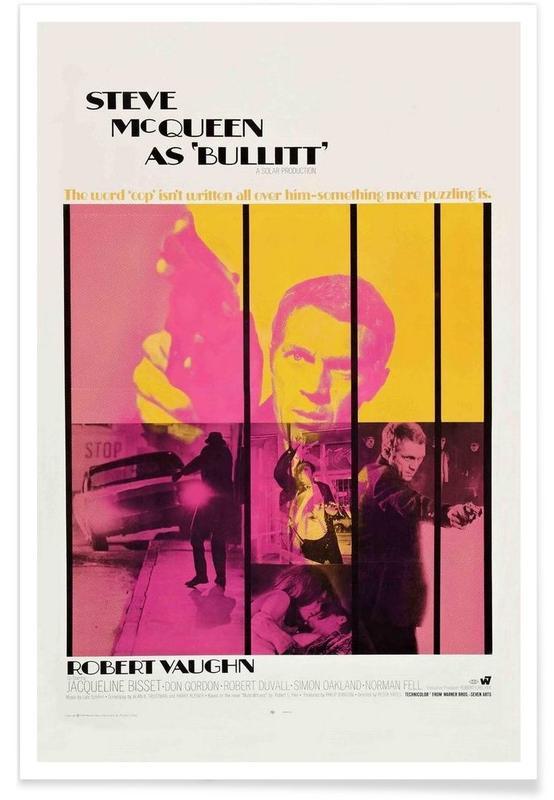 Films, Vintage, Affiche du film Bullitt, 1968 - Photographie affiche
