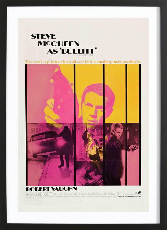 Bullitt, 1968 Movie Poster affiche sous cadre en bois