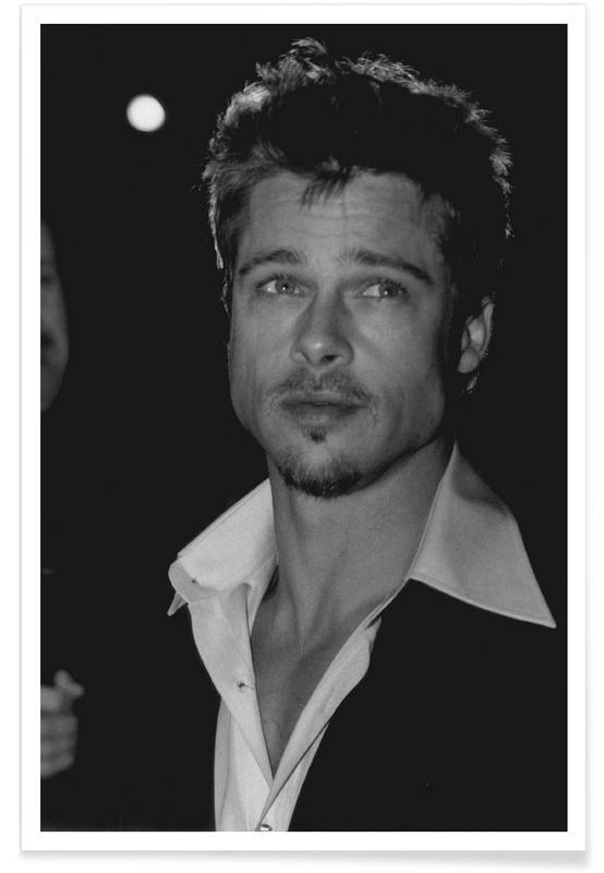 Zwart en wit, Vintage foto van Brad Pitt poster