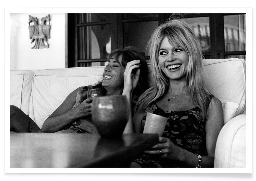 Brigitte Bardot, Noir & blanc, Brigitte Bardot souriante - Photographie affiche