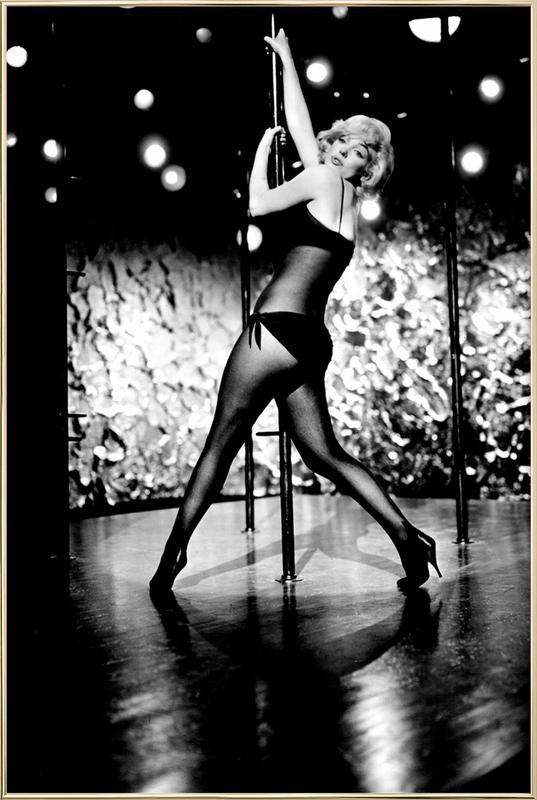 Marilyn Monroe Pole Dancing affiche sous cadre en aluminium