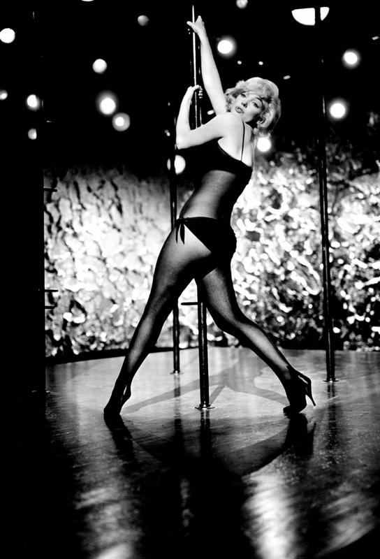 Marilyn Monroe Pole Dancing Aluminium Print