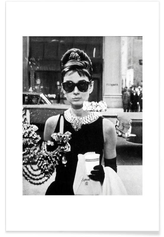 Audrey Hepburn, Sort & hvidt, Film, Audrey Hepburn in Breakfast at Tiffanys, 1961 Photograph Plakat
