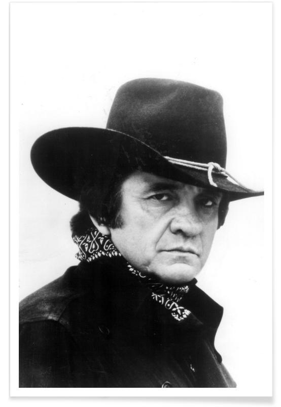Johnny Cash, Noir & blanc, Country Singer, Johnny Cash - Photographie affiche