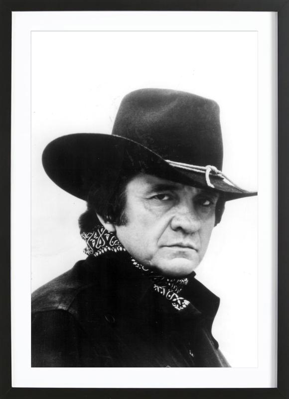 Country Singer, Johnny Cash affiche sous cadre en bois