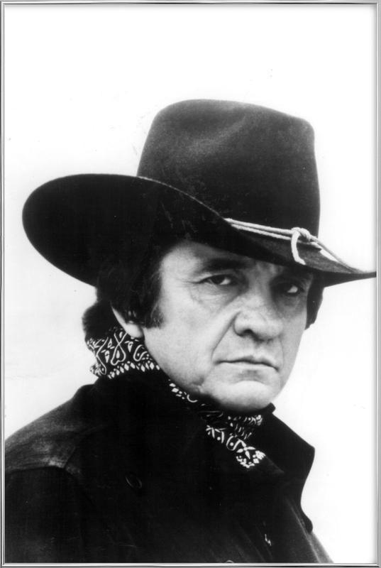 Country Singer, Johnny Cash poster in aluminium lijst