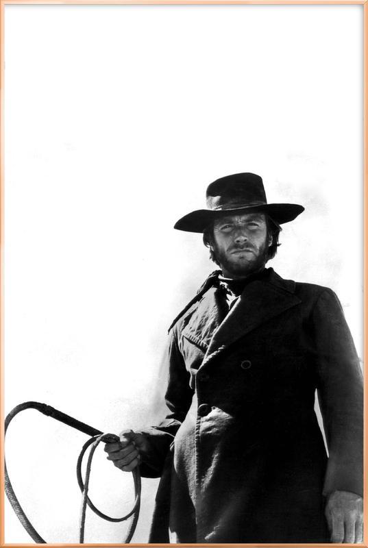 Clint Eastwood as 'The Stranger' affiche sous cadre en aluminium