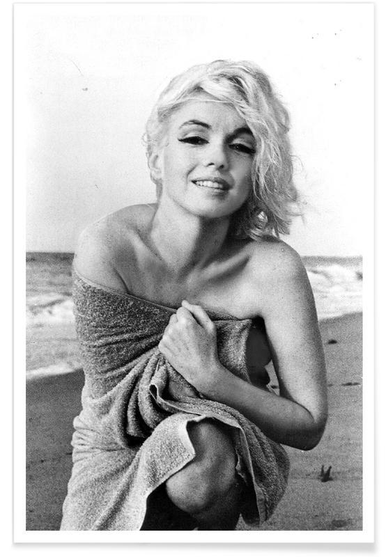 Sort & hvidt, Marilyn Monroe, Marilyn Monroe on the sea shore Plakat