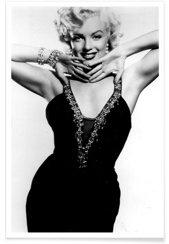 Marilyn Monroe in a glamourous black dress -Poster