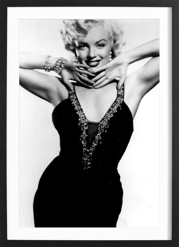 Marilyn Monroe in a glamourous black dress Framed Print