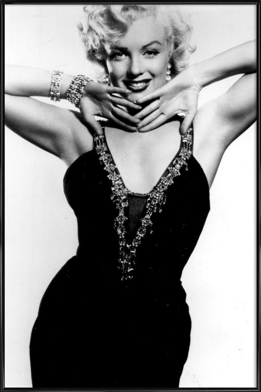Marilyn Monroe in a glamourous black dress Framed Poster