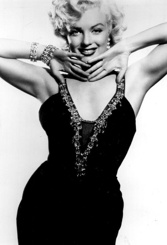 Marilyn Monroe in a glamourous black dress -Acrylglasbild