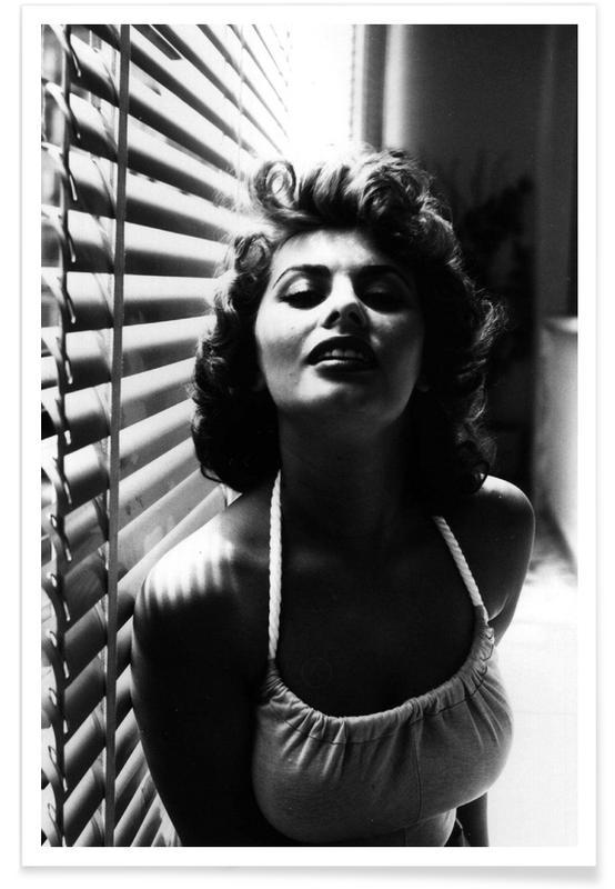 Zwart en wit, Portretfoto van Sophia Loren poster