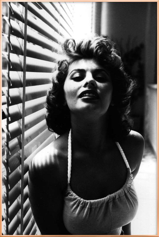 Sophia Loren Portrait poster in aluminium lijst