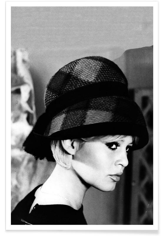 Sort & hvidt, Brigitte Bardot, Brigitte Bardot with Hat Plakat