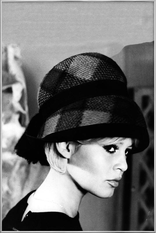 Brigitte Bardot with Hat Poster in Aluminium Frame