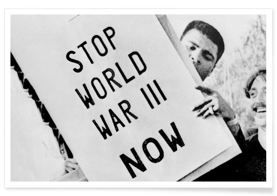 Mohamed Ali, Noir & blanc, Manifestation contre la guerre avec Cassius Clay - Photographie affiche