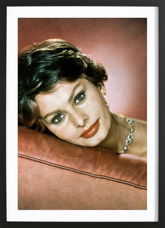 Sophia Loren in the Sixties affiche sous cadre en bois