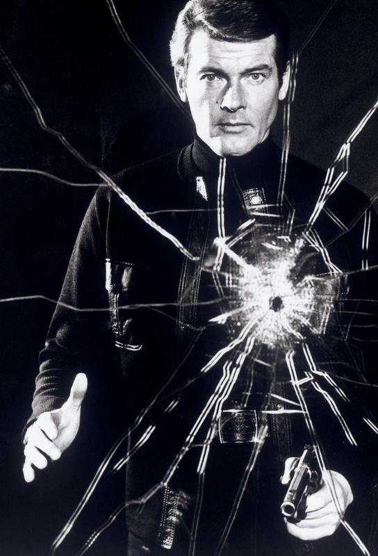 Roger Moore in  'Live and Let Die' tableau en verre