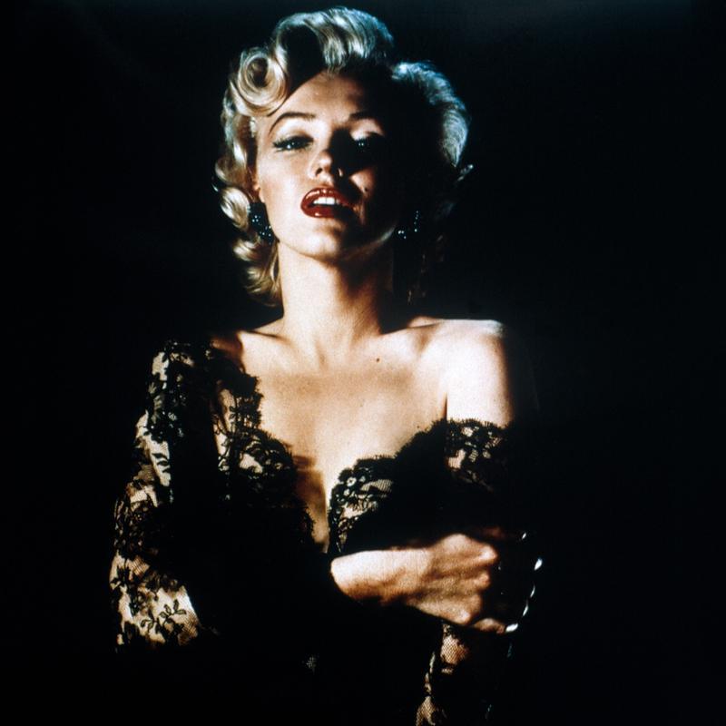 Marilyn Monroe wearing Black Lace Aluminium Print