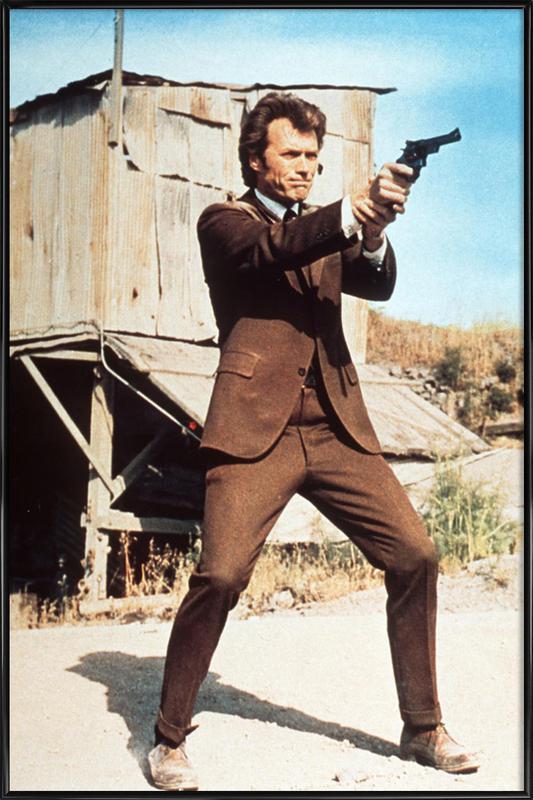 Clint Eastwood in 'Dirty Harry' -Bild mit Kunststoffrahmen