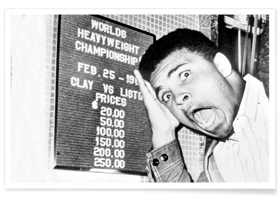 Schwarz & Weiß, Muhammad Ali, The New World Heavyweight Champion Cassius Clay, 26 February 1964 -Poster