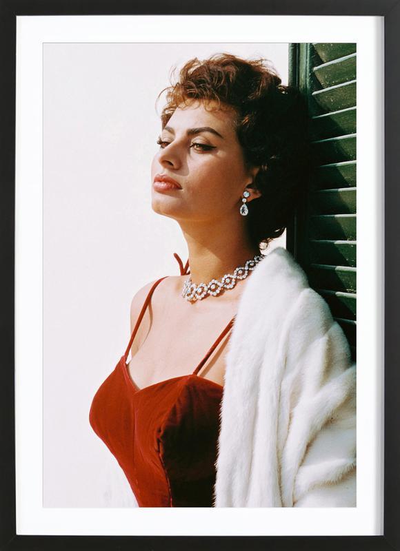 Sophia Loren in Red affiche sous cadre en bois