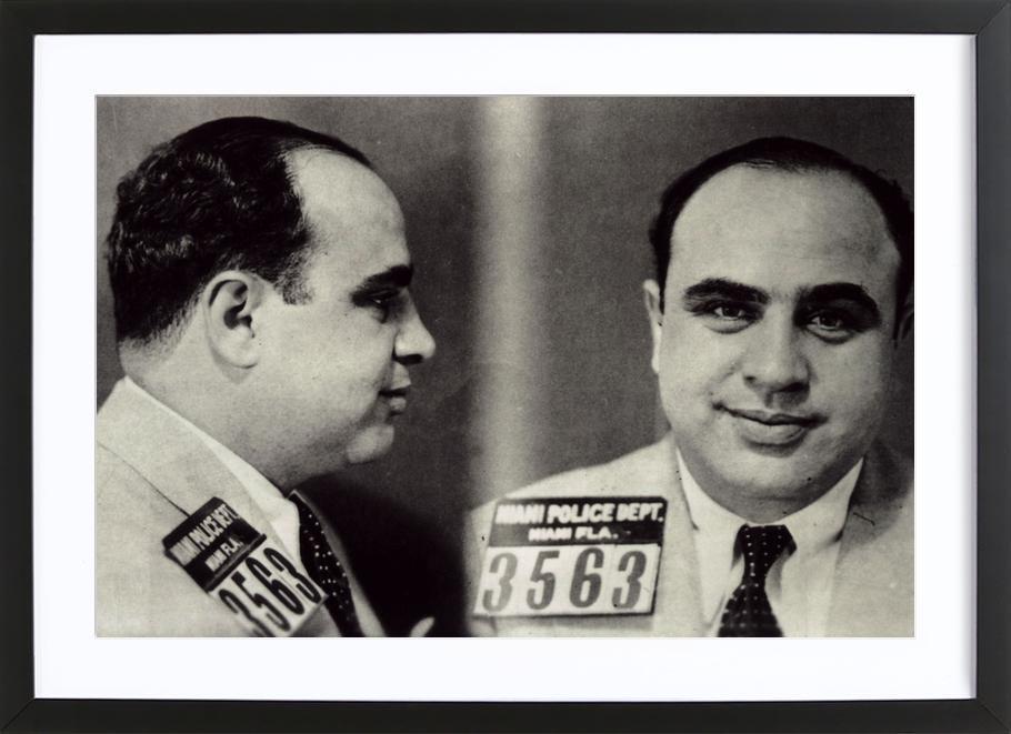 Al Capone's Mugshot affiche sous cadre en bois