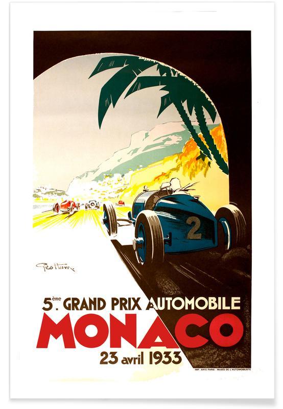 Vintage Reise, Vintage Monaco 23 April 1933 -Poster