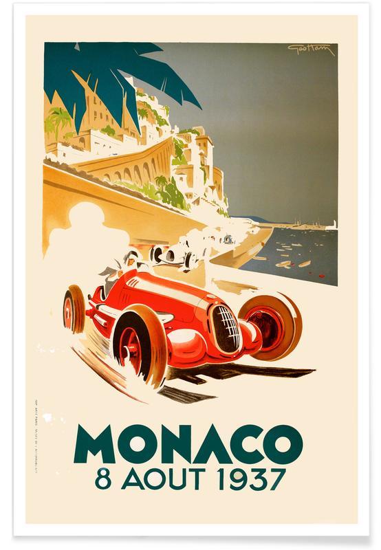Vintage Monaco 8 August 1937 affiche
