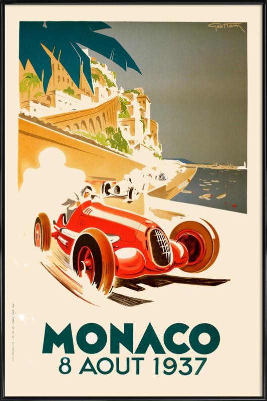 Vintage Monaco 8 August 1937 Framed Poster