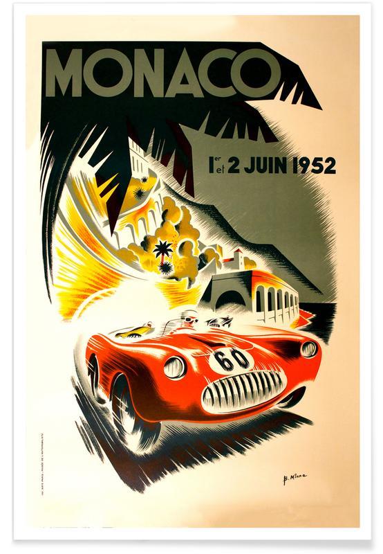 Vintage Monaco 1 June 1952 affiche