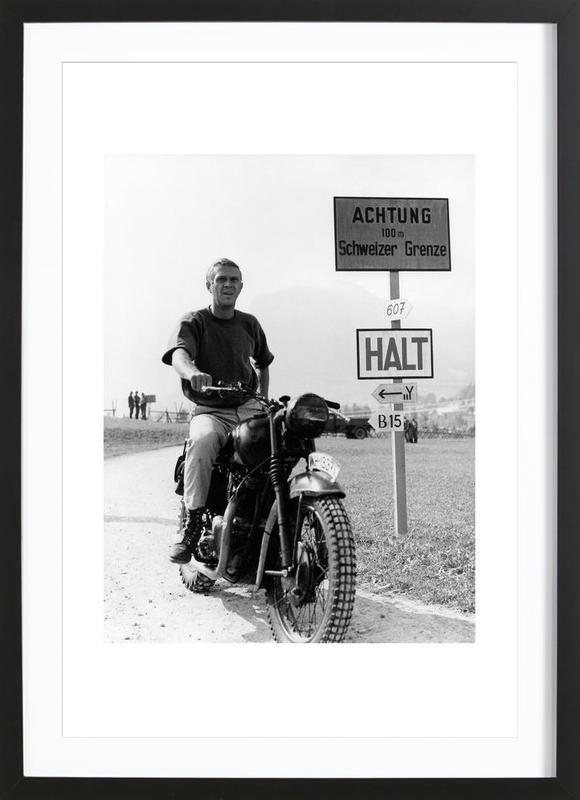 """Steve McQueen """"The Great Escape"""" 1963  ingelijste print"""