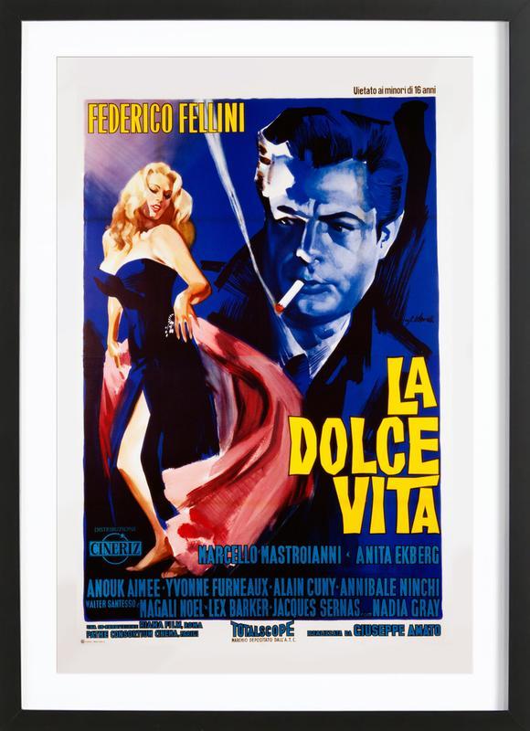 'La Dolce Vita' Retro Movie Poster affiche sous cadre en bois