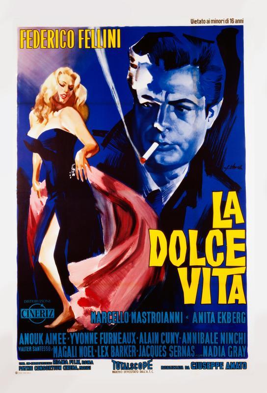'La Dolce Vita' Retro Movie Poster Acrylic Print