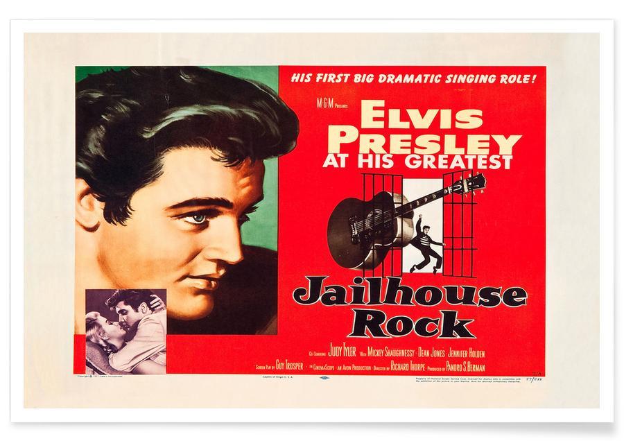 Films, Elvis, Jailhouse Rock' - retro film poster
