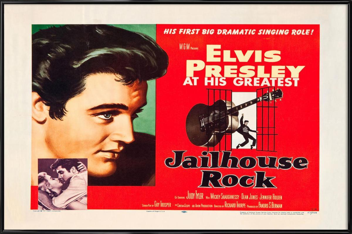 Jailhouse Rock' Retro Movie Poster -Bild mit Kunststoffrahmen